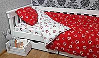 Комплект постельного белья полуторный сердца красные