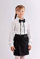Блуза школьная для девочки с бантом
