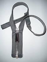 Молния металлическая разъемная 28см, 1 бегунок, тип 5. Основа - серая, зубцы - серебро.