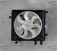 Дифузор радиатора, левый, в сборе с вентилятором, пять креплений, Geely MK1 [1.6, до 2010г.], Аftermarket