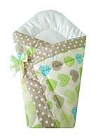 Демисезонный конверт одеяло для новорожденных на выписку весна/осень  90х90см Сердца зеленый