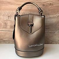 Женский кожаный рюкзак сумка Бронзовый Итальянский, фото 1
