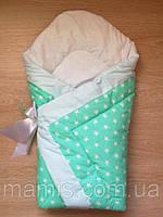 Осенний конверт одеяло для новорожденных на выписку весна/осень  90х90см Звезды зеленый