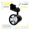 Светодиодный светильник трековый ZL4007 30W 2700K-4000K 2100Lm LED track black черный