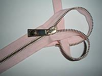 Молния металлическая разъемная 30см, 1 бегунок, тип 6. Основа - светло-розовая, зубцы - золото., фото 1