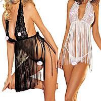 Женское эротическое белье (в комплекте стринги), нижнее сексуальное, черное, пеньюар, платье 11139с-а