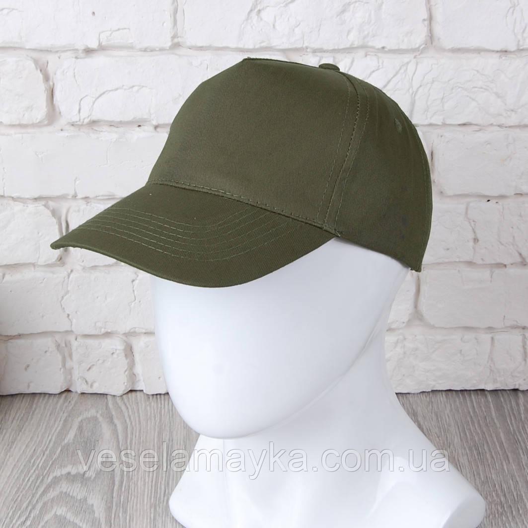 Оливкова однотонна кепка на липучці (Комфорт)