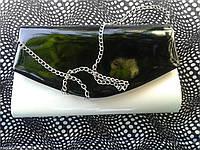 Женский клатч лаковый белый с черным(Турция)