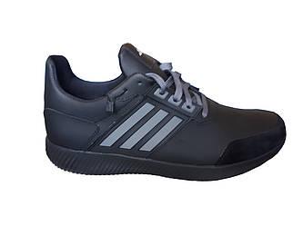 Мужские кожаные кроссовки Adidas Осень-Весна  черный
