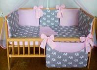 Набор постельного белья в детскую кроватку из 7 предметов Слоники серый/розовый