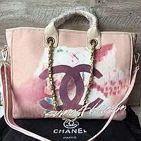 Женская крутая сумка Chanel Шанель Холст текстиль пляжная скидка