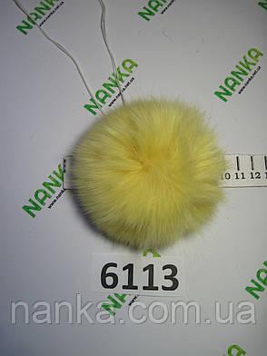Меховой помпон Кролик, Ваниль, 10 см,  6113, фото 2
