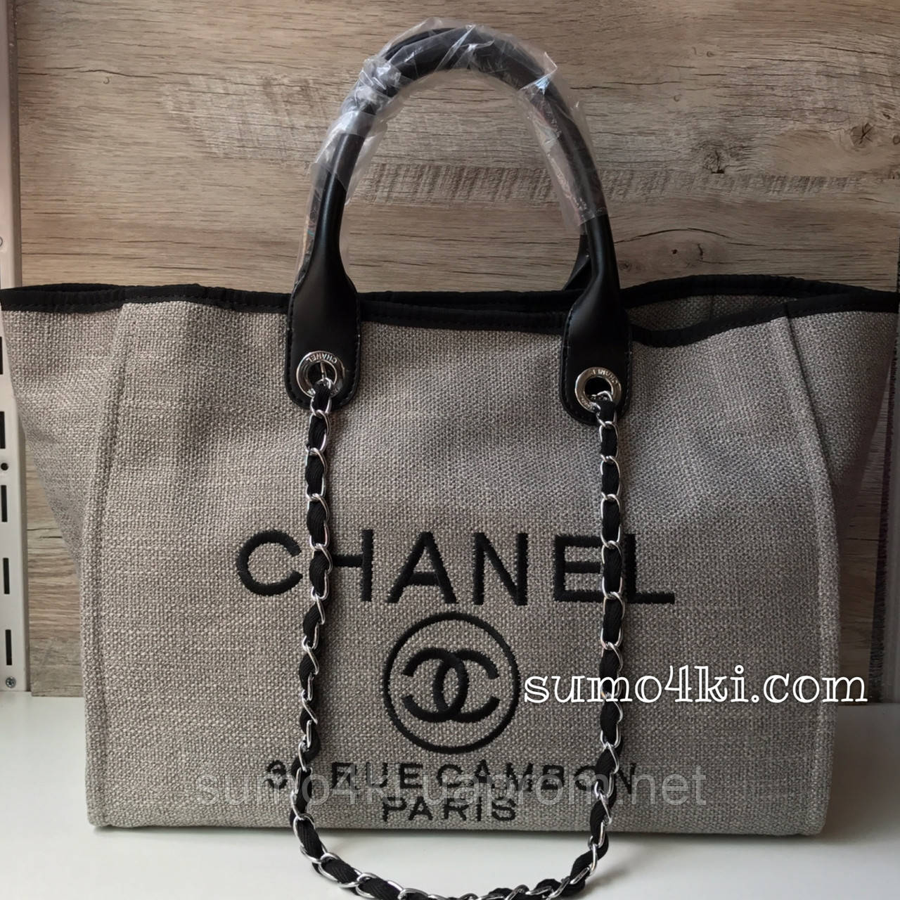 2336fe0c1603 Женская сумка Chanel Deauville Шанель холст пляжная - Интернет-магазин  «Галерея Сумок» в