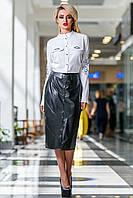 Стильная Белая Блуза с Вышивкой Воротник Стойка М-2XL