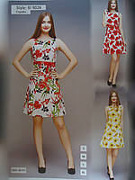 Платье короткое пестрое стрейч разных цветов