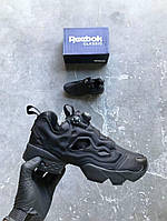 Кроссовки Reebok Insta pump Fury OG Triple Black. Живое фото (Реплика ААА+)