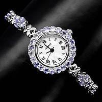Серебряные часы с натуральными танзанитами .