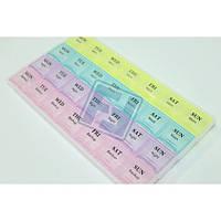Органайзер для таблеток цветной с днями недели/ таблетница 28 ячеек