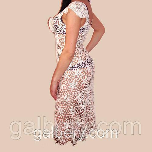 928b8d7c1c1 Белое вязаное крючком платье из ажурных фрагментов  продажа