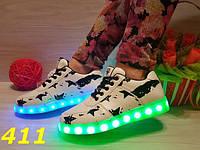 Женские кроссовки с LED подсветкой, р.36-41