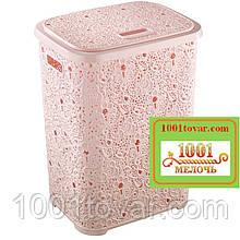Корзина для белья из пластика Ажурная, розовая. Elif Plastic (Элиф)Турция