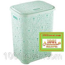 Корзина для белья из пластика Ажурная, мятная. Elif Plastic (Элиф)Турция