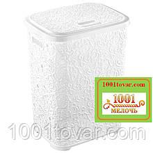 Корзина для белья из пластика Ажурная, белая. Elif Plastic (Элиф)Турция