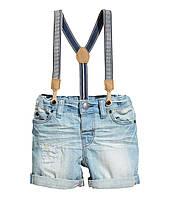 Детские джинсовые шорты с подтяжками   12-18 месяцев, 1,5-2 года