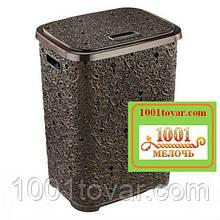 Корзина для белья из пластика Ажурная, коричневая. Elif Plastic (Элиф)Турция