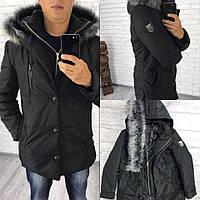 Зимняя мужская куртка-пальто со съёмным капюшоном из песца, термо и водостойкая плащевка, синтепон 200, черная