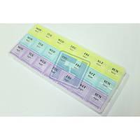 Органайзер для таблеток цветной с днями недели/ таблетница 21 ячейка