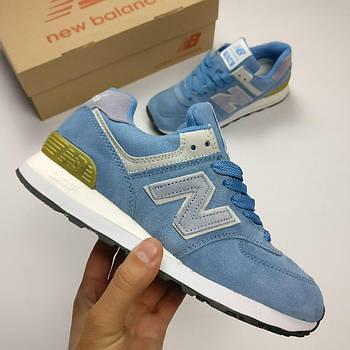 Женские кроссовки New Balance 574 (Нью Баланс) голубые