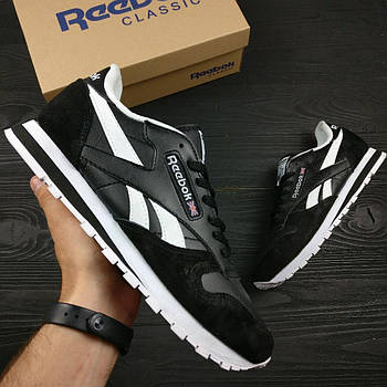 Мужские кроссовки Reebok Classic (Рибок Классик) черно-белые