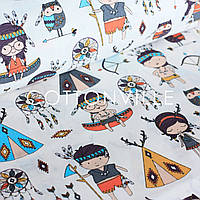 ✁ Відрізи тканини Діти-індіанці екрю, фото 1