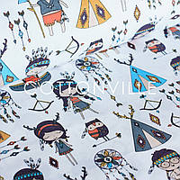 Бязь Дети-индейцы на белом, фото 1