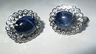 """Хорошенькие серьги с круглыми синими звездчатыми сапфирами """"Прелесть"""" от студии LadyStyle.Biz, фото 1"""