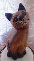 Статуэтка Кошка тиковая высота 15 см