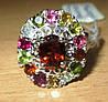 """Разноцветный перстень с цветными турмалинами """"Шахерезада"""", размер 17.4  от студии LadyStyle.Biz"""