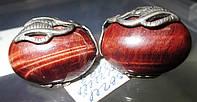 Шикарные крупные серьги с натуральным бычьим глазом от Студии  www.LadyStyle.Biz