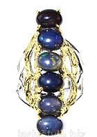 """Крупное кольцо с натуральными черными  опалами """"Президент"""", размер 19.6 , от студии LadyStyle.Biz, фото 1"""