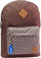Рюкзак Bagland Молодежный W/R 17 л. коричневый/горох (00533662)