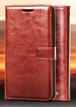 Кожаный чехол-книжка для Huawei Ascend G7 коричневый