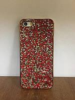 """Силиконовый чехол со стразами """"Apex"""" Crystal красный для iPhone 5/5S/SE"""