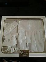 Нарядный крестильный комплект для девочки 5 предметов
