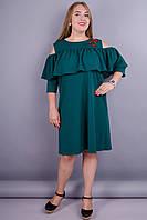Окси. Женское платье с воланом большие размеры. Бутылка. 54