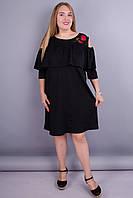 Окси. Стильное платье для женщин с пышными формами. Черный. 52