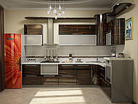 Кухня МДФ шпонированный + стекло 031