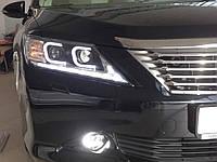 Передние альтернативные фары Toyota Camry 50 2011-2014 с 2 линзами и drl