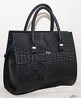Каркасная чёрная женская сумка Fashion с текстурой под рептилию