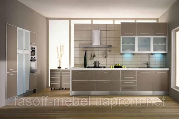 Кухня МДФ пластик + стекло 035